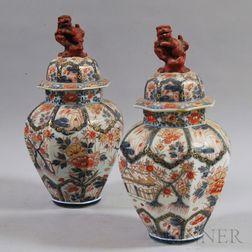 Pair of Japanese Imari Porcelain Covered Jars