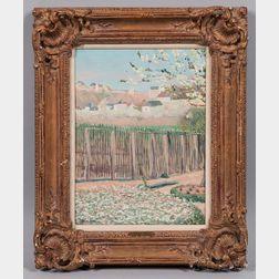 Léon Giran-Max (French, 1867-1927)      Spring Landscape with Garden