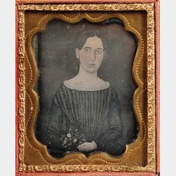 Ninth-plate Daguerreotype of a Folk Portrait of a Young Woman Holding Flowers