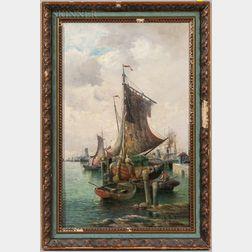 European School, 19th Century    Harbor Scene
