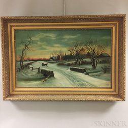 Attributed to Ellen Allen (American, 20th Century)    Winter Village Scene with Horse-drawn Sleigh