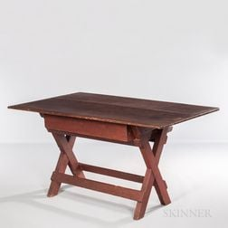Red-painted Sawbuck Table with Drawer