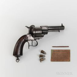 French Lefacheaux Revolver, Three Cartridges, and a Wood Relic Found at Andersonville