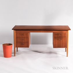 Danish Teak Desk and Sewer Wastebasket