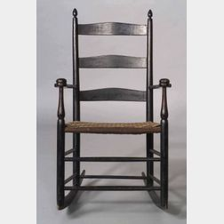 """Shaker Painted Child's Number""""1"""" Slat back Armed Production Chair with Rockers"""