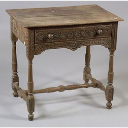 William and Mary Style Carved Oak Side Table