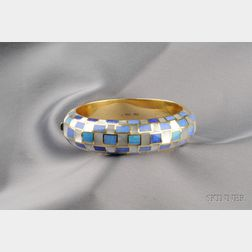 18kt Gold, Black Opal, and Mother-of-pearl Bangle Bracelet, Tiffany & Co.