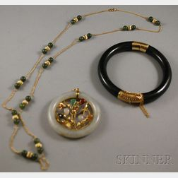 Three Jade and Nephrite Jewelry Items