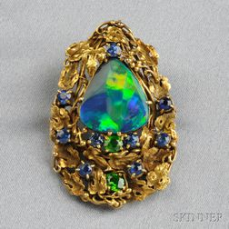 Arts & Crafts Black Opal, Demantoid Garnet, and Sapphire Brooch, Tiffany & Co.