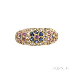 18kt Gold, Diamond, and Sapphire Ring