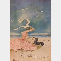 Framed Color Offset Lithograph of a Young Woman and Dog on the Beach After      Mary Petty (American, 1899-1976)
