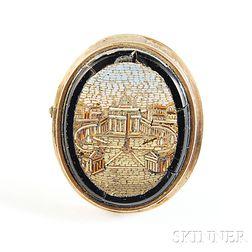 Gilt-framed Italian Micromosaic Pin