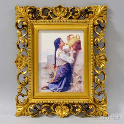 Framed Porcelain Plaque with Photomechanical Scene of a Girl Drinking Water