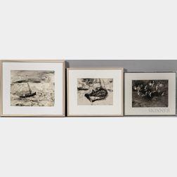 William Thon (American, 1906-2000)      Three Works on Paper: Greek Boat ,  Flight