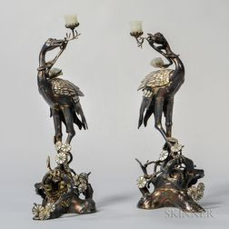 Pair of Gilt-silver Crane-shape Candleholders