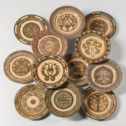 "Twelve Mary Bacon Jones (1868-1924) for Limoges ""Jungle Service"" Porcelain Plates"
