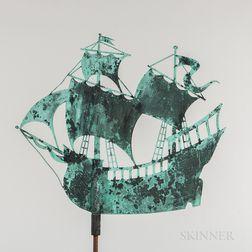 Sheet Copper Galleon Weathervane