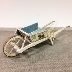 Painted and Stenciled Wood and Iron Wagon and Wheelbarrow