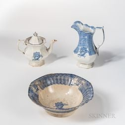 Three Staffordshire Transfer-decorated Eagle and Shield Table Items
