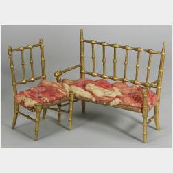 Three-Piece Set of French Gilded Faux Bamboo Seating for Ladies