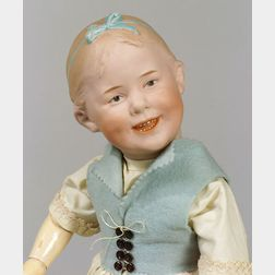 Heubach 8050 Bisque Socket Head Smiling Girl Doll