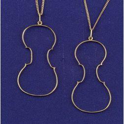 Pair of 18kt Gold Pendant Necklaces, Fernandez Arman