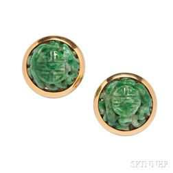 18kt Gold and Jade Earclips