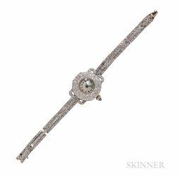 Belle Epoque Platinum and Diamond Wristwatch