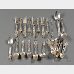 """Sixteen Whiting Manufacturing Co. Sterling """"Berry"""" Pattern Spoons"""