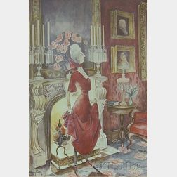 Framed Print of a Woman in an Interior After Mary Petty (American, 1899-1976)
