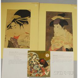 Three Unframed Japanese Woodblock Prints:      Kitagawa Utamaro (Japanese, 1753-1806), Portrait of a Geisha
