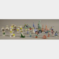 Thirty-three Small and Miniature Herend Hand-painted Porcelain Table Items and   Figures