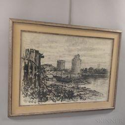 René Demeurisse (French, 1895-1961)      Harbor at La Rochelle