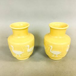 Pair of Rookwood Pottery Duck Vases