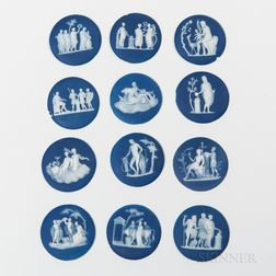 Set of Twelve Wedgwood Dark Blue Jasper Dip Medallions