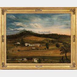 American School, 19th Century      Expansive Farm Landscape