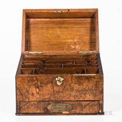 English Burl Veneer Letter Box with Drawer