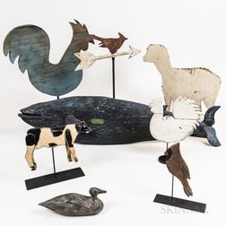 Seven Mostly Carved and Painted Wood Animals