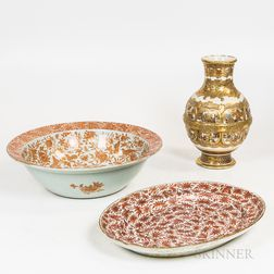 Chinese Export Porcelain Bowl and Platter and a Satsuma Vase