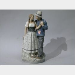 Large Royal Copenhagen Porcelain Figure of a Dutch Man and Woman