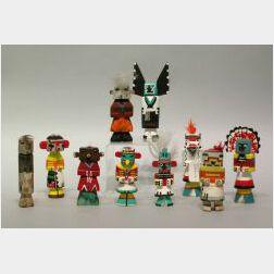 Ten Southwest Native American Painted Kachinas.