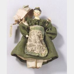 Small Dressed Grodnertal Wooden Doll