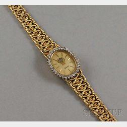 Lady's Samsan 14kt Gold and Diamond Bracelet Wristwatch
