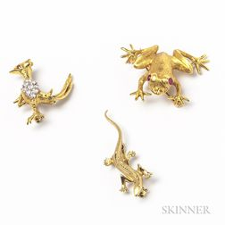 Three Gold Animal Brooches