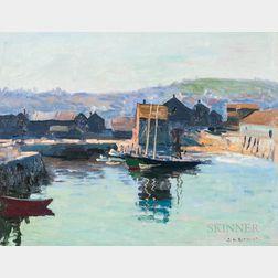 Charles Henry Richert (American, 1880-1974)      Quiet Harbor with Docked Schooner