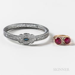 Retro Synthetic Ruby Ring