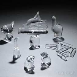 Seven Baccarat Crystal Animal Figurals and Eight Knife Rests