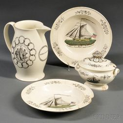 Four Transfer-decorated Creamware Items with Sloop Aurora of Newport