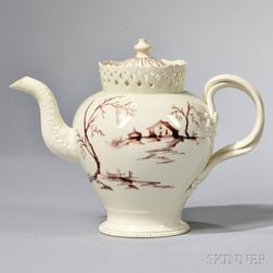 Staffordshire Creamware Teapot and Cover