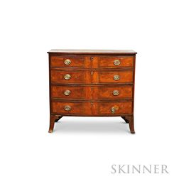 Federal Cherry, Mahogany, and Birch Veneer Bow-front Chest of Drawers